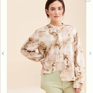 Anthropologie CAARA Marbled Blouse Unique! XS LN